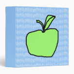 Green Apple with Patterned Background. 3 Ring Binders