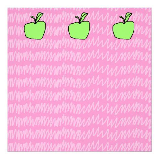 Green Apple with Patterned Background. Personalized Announcement
