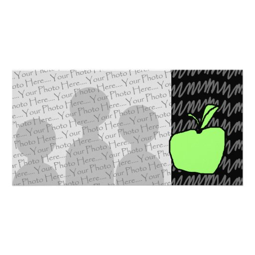 Green Apple with Patterned Background. Photo Card