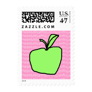 Green Apple with Patterned Background. Postage