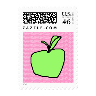 Green Apple with Patterned Background Stamps