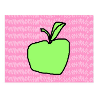 Green Apple with Patterned Background. Postcard