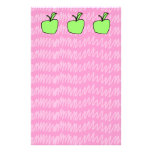 Green Apple with Patterned Background. Custom Stationery