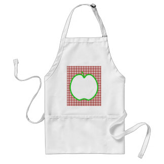 Green Apple with Red and White Check Pattern. Adult Apron