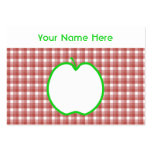 Green Apple with Red and White Check Pattern. Large Business Cards (Pack Of 100)