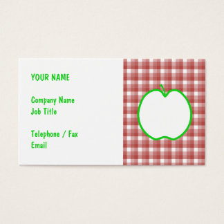 Green Apple with Red and White Check Pattern. Business Card