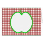 Green Apple with Red and White Check Pattern. Stationery Note Card