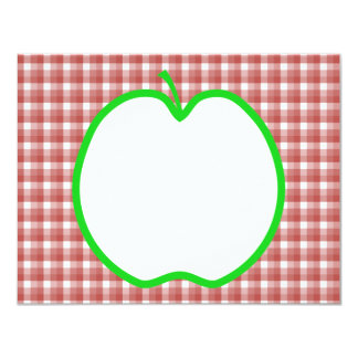 Green Apple with Red and White Check Pattern. Card