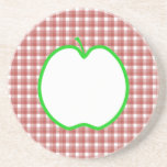 Green Apple with Red and White Check Pattern. Drink Coasters