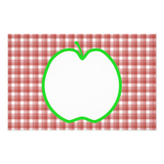 Green Apple with Red and White Check Pattern. Flyer