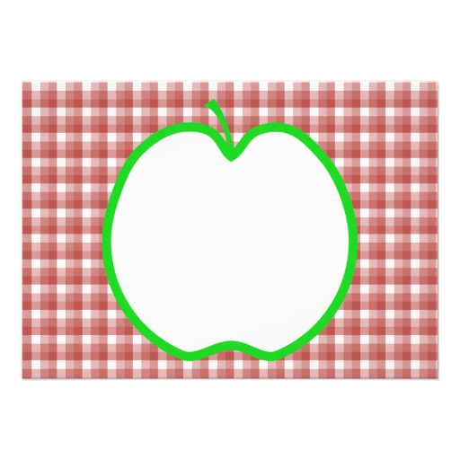Green Apple with Red and White Check Pattern. Custom Invites