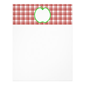 Green Apple with Red and White Check Pattern. Letterhead