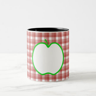 Green Apple with Red and White Check Pattern. Coffee Mugs
