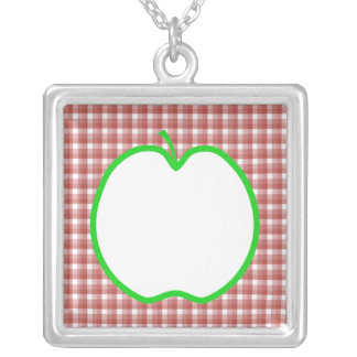 Green Apple with Red and White Check Pattern Custom Necklace