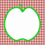 Green Apple with Red and White Check Pattern. Photo Cutout