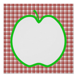 Green Apple with Red and White Check Pattern Posters