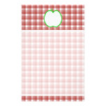 Green Apple with Red and White Check Pattern. Stationery Paper
