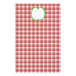 Green Apple with Red and White Check Pattern. Stationery Design