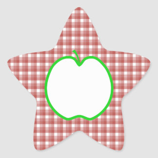 Green Apple with Red and White Check Pattern. Star Sticker