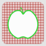 Green Apple with Red and White Check Pattern. Square Sticker