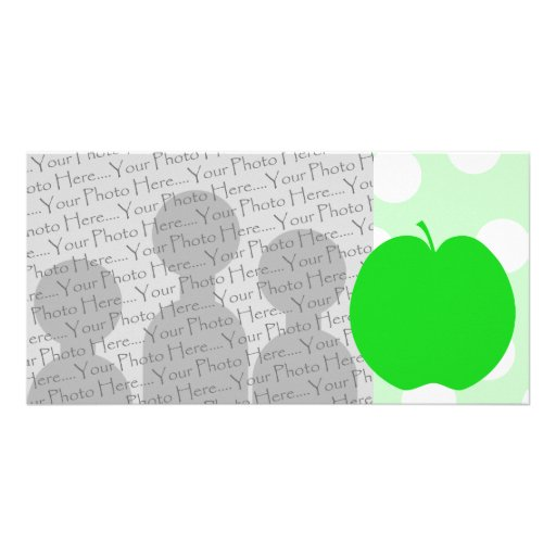 Green Apple with Spotty Background. Photo Cards