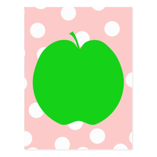 Green Apple with Spotty Background. Post Cards