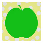 Green Apple with Spotty Background. Poster