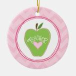 Green Apple & Zigzag Teacher Ornament