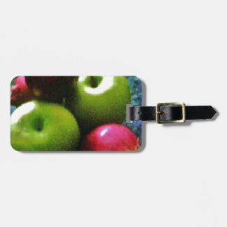 Green apples and red onions. bag tag