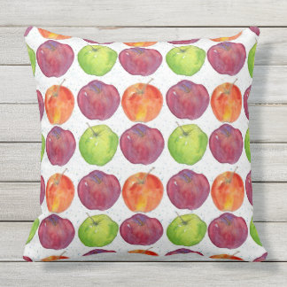Green Apples Red Apples Watercolor Fruit Throw Pillow