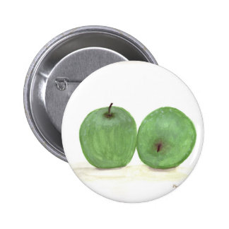 Green apples watercolour painting pin