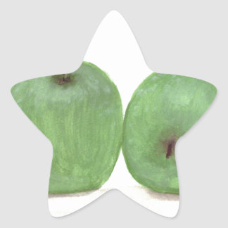 Green apples watercolour painting star sticker