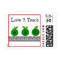 Green Apples with a Zebra Print Border Postage