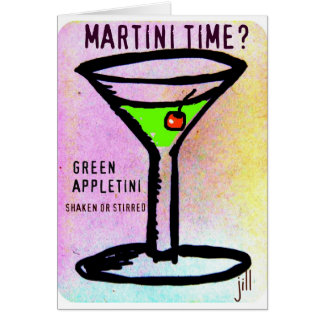 GREEN APPLETINI MARTINI TIME PASTEL PRINT by jill Card