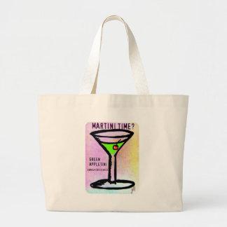 GREEN APPLETINI MARTINI TIME PASTEL PRINT by jill Large Tote Bag