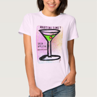 GREEN APPLETINI MARTINI TIME PASTEL PRINT by jill Shirt