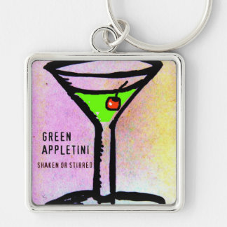 GREEN APPLETINI MARTINI TIME PASTEL PRINT by jill Silver-Colored Square Keychain