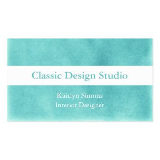 Green Aqua And White Business Cards
