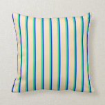 [ Thumbnail: Green, Aqua, Blue, and Beige Stripes Throw Pillow ]