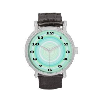 Green Aqua Blue Bullseye bold black numbers Wrist Watch
