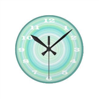 Green Aqua Blue Bullseye bold white numbers Clock