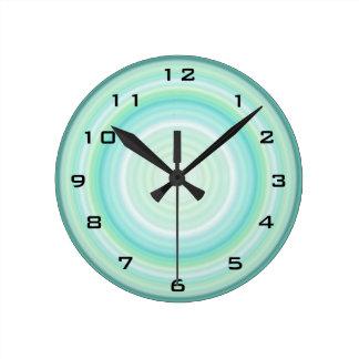Green Aqua Blue Bullseye digital black numbers Round Clock