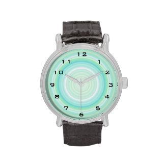 Green Aqua Blue Bullseye digital black numbers Watch