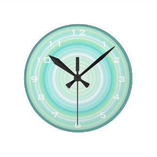 Green Aqua Blue Bullseye digital white numbers Clock