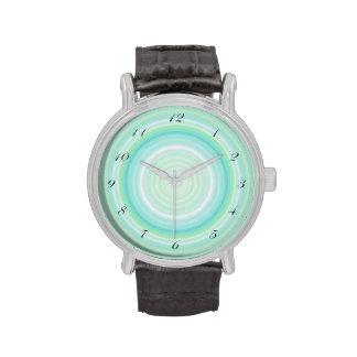 Green Aqua Blue Bullseye script black numbers Watches
