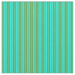 [ Thumbnail: Green & Aqua Colored Lined/Striped Pattern Fabric ]