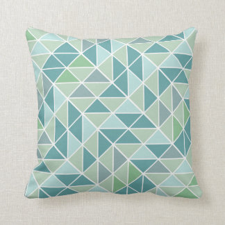 Green Aqua Gray Abstract Triangle Pattern Throw Pillow