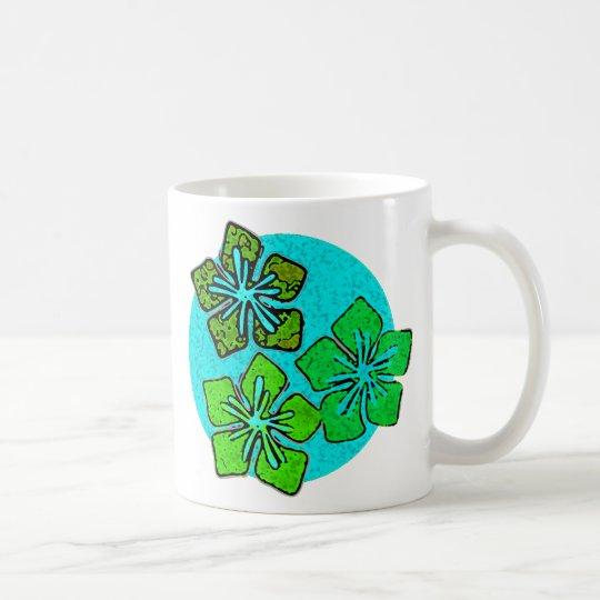 Green & Aqua Hawaiian Hibiscus Tropical Flowers Coffee Mug