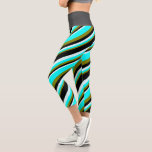 [ Thumbnail: Green, Aqua, Light Cyan, and Black Stripes Leggings ]
