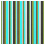 [ Thumbnail: Green, Aqua, Light Cyan, and Black Stripes Fabric ]